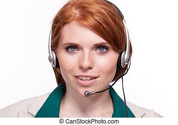 女性ビジネス, 隔離された, エージェント, callcenter, オペレーター, 肖像画, 微笑