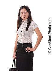 女性ビジネス, 45, 女性実業家, 若い, 女性, 微笑。, degre, 微笑する立つこと, バックグラウンド。, 中国語, アジア人, 白
