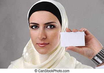 女性ビジネス, muslim, 若い, 手, カード
