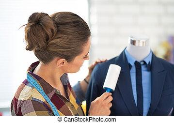 女性ビジネス, suit., 仕立屋, 清掃, 後部光景