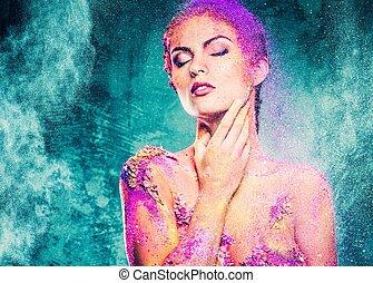 女性ボディ, 若い, 芸術, 概念, カラフルである, 美しい