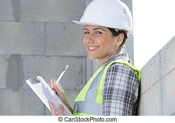 女性執筆, サイト, クリップボード, 建設