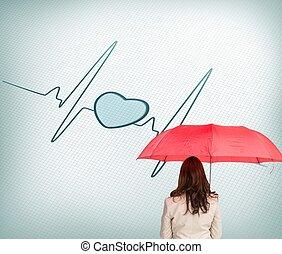 女性実業家の地位, 背中, カメラに, 保有物の傘
