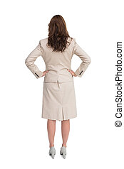 女性実業家の地位, 背中, カメラに