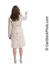 女性実業家の地位, 背中, カメラに, 執筆, ∥で∥, マーカー
