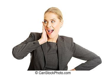 女性実業家, あご, 手を持つ, 肖像画, 驚かせられた