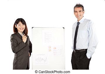 女性実業家, そして, ビジネスマン, 寄付, プレゼンテーション