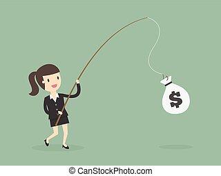 女性実業家, つかまえること, お金, 釣り, rod.