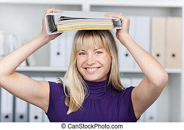 女性実業家, つなぎ, 置くこと, 頭