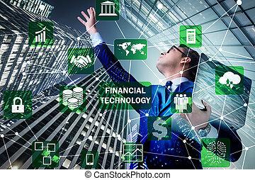 女性実業家, ∥で∥, ラップトップ, 中に, 財政, 技術, fintech, concep