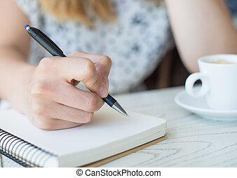 女性実業家, ∥で∥, a, note-book