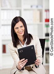 女性実業家, ∥で∥, a, tablet-pc