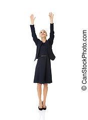 女性実業家, の上, 手を持つ
