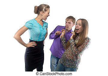 女性実業家, イメージ, 叫ぶこと, subordinates