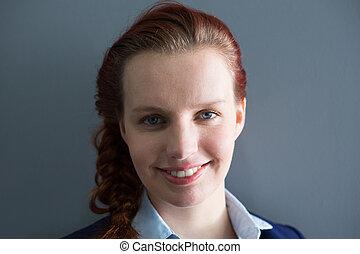 女性実業家, オフィス, 微笑, 肖像画
