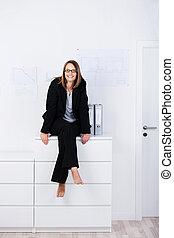 女性実業家, カウンター, 幸せ, オフィス, モデル