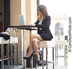 女性実業家, カフェ, 若い, 仕事