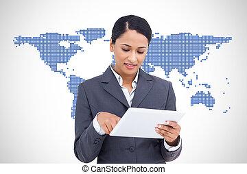 女性実業家, タブレット, 使うこと