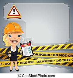 女性実業家, テープ, 危険