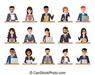 女性実業家, ビジネスマン, 行動, 人々
