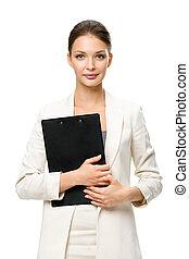 女性実業家, フォルダー, 半分長さ, 肖像画