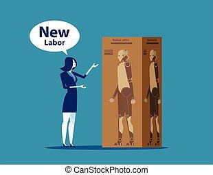 女性実業家, ベクトル, illustration., presentation., labor., 新しい, 概念, ビジネス