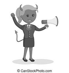 女性実業家, メガホン, 悪魔