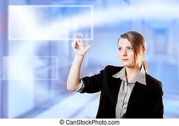女性実業家, ライト, スクリーン, デジタル, パッド, 指, キーボード, 感触