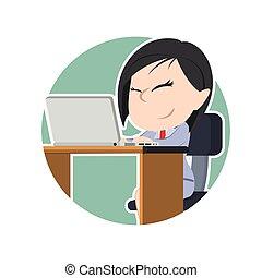 女性実業家, ラップトップ, 円, アジア人
