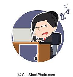 女性実業家, ラップトップ, 円, アジア人, 睡眠