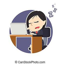 女性実業家, ラップトップ, 円, 睡眠