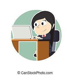 女性実業家, ラップトップ, 円