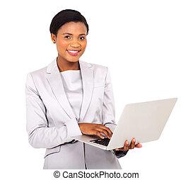 女性実業家, ラップトップ, 若い, アメリカ人, コンピュータ, 使うこと, アフリカ