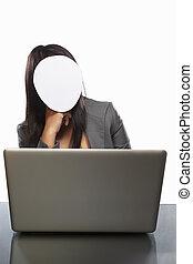 女性実業家, ラップトップ, 身元を隱した