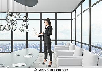 女性実業家, ラップトップ, 魅力的