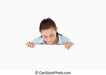女性実業家, 上に見下ろす, 印