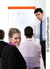 女性実業家, 上に, a, 専門家, 訓練