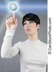 女性実業家, 世界的である, 惑星, デジタル, 感触, 未来派