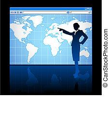 女性実業家, 世界, 背景, 地図