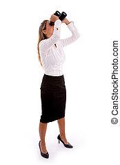 女性実業家, 両眼用である, 見ること, サイド光景
