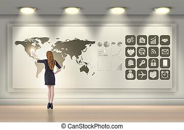 女性実業家, 中に, グローバルなビジネス, 概念