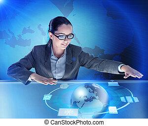 女性実業家, 中に, 世界的である, 計算, 概念