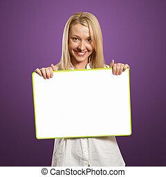 女性実業家, 保有物, ブランク, 白, カード, 幸せ
