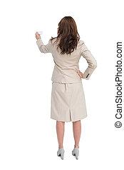 女性実業家, 保有物, 名刺, 地位, 背中, カメラに