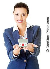 女性実業家, 保有物, 家, モデル, -, 不動産, ローン, 概念