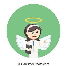 女性実業家, 円, クリップボード, 背景, 天使