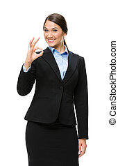女性実業家, 半分長さ, オーケー, ジェスチャーで表現する, 肖像画