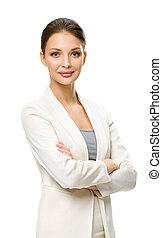 女性実業家, 半分長さ, 交差させた 腕, 肖像画