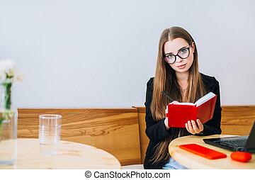 女性実業家, 幸せ, 若い, notepad.