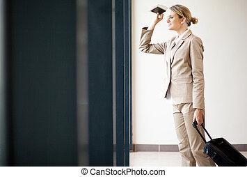 女性実業家, 待つこと, 飛行, 空港